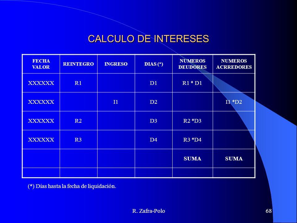 CALCULO DE INTERESES XXXXXX R1 D1 R1 * D1 I1 D2 I1 *D2 R2 D3 R2 *D3 R3