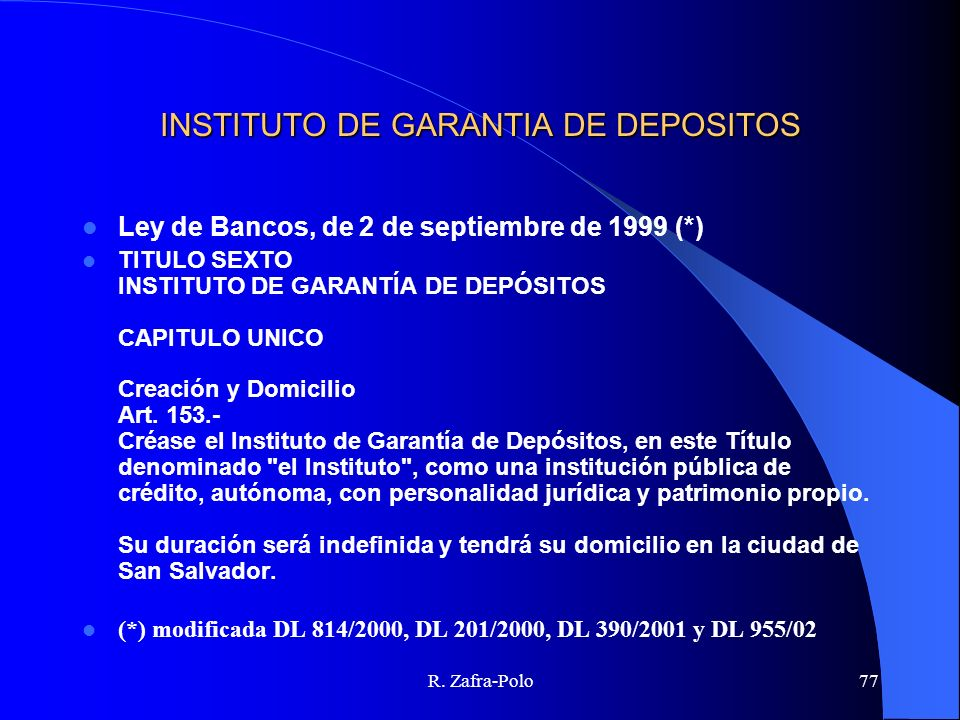 INSTITUTO DE GARANTIA DE DEPOSITOS