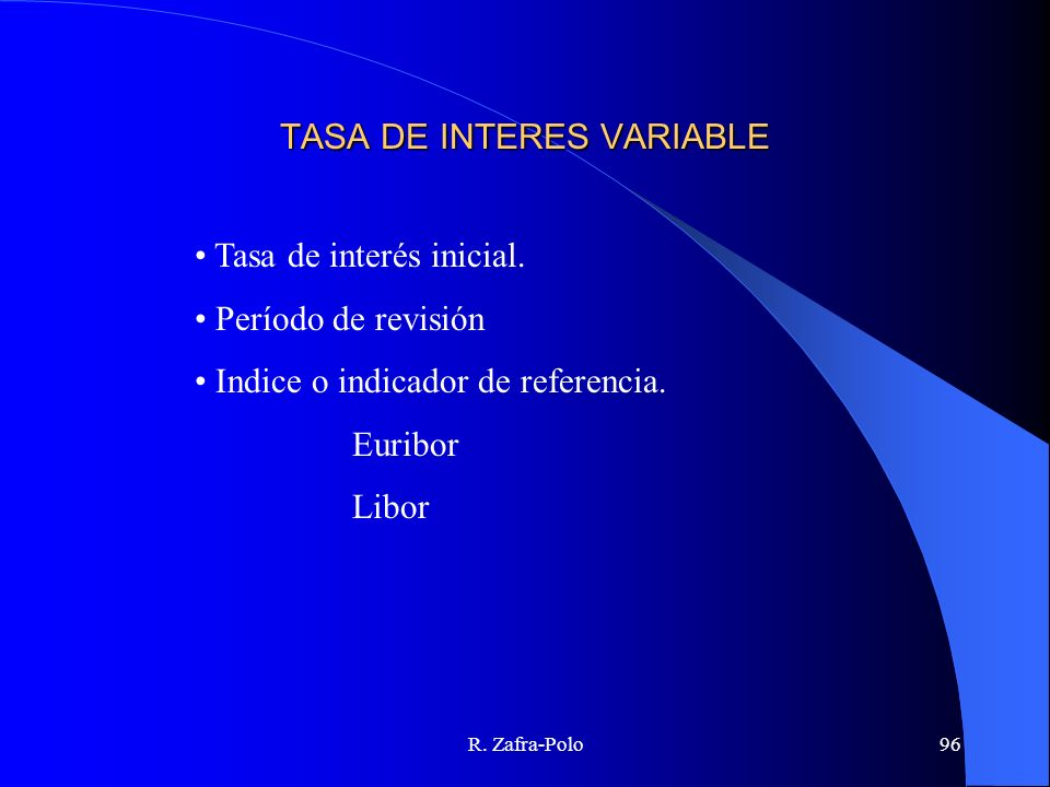 TASA DE INTERES VARIABLE