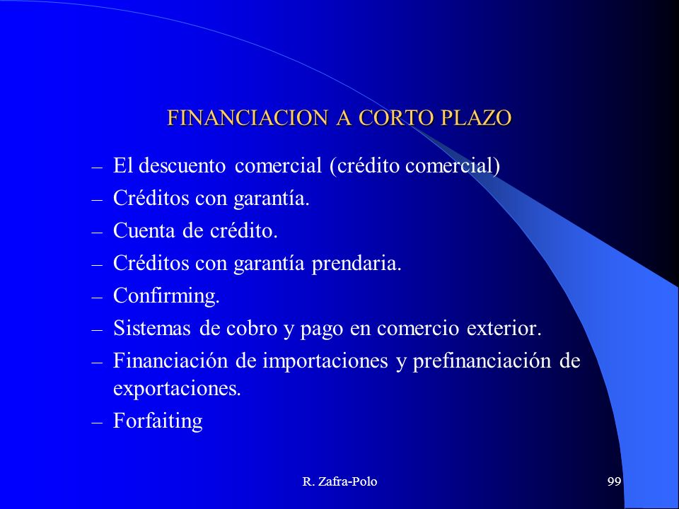 FINANCIACION A CORTO PLAZO