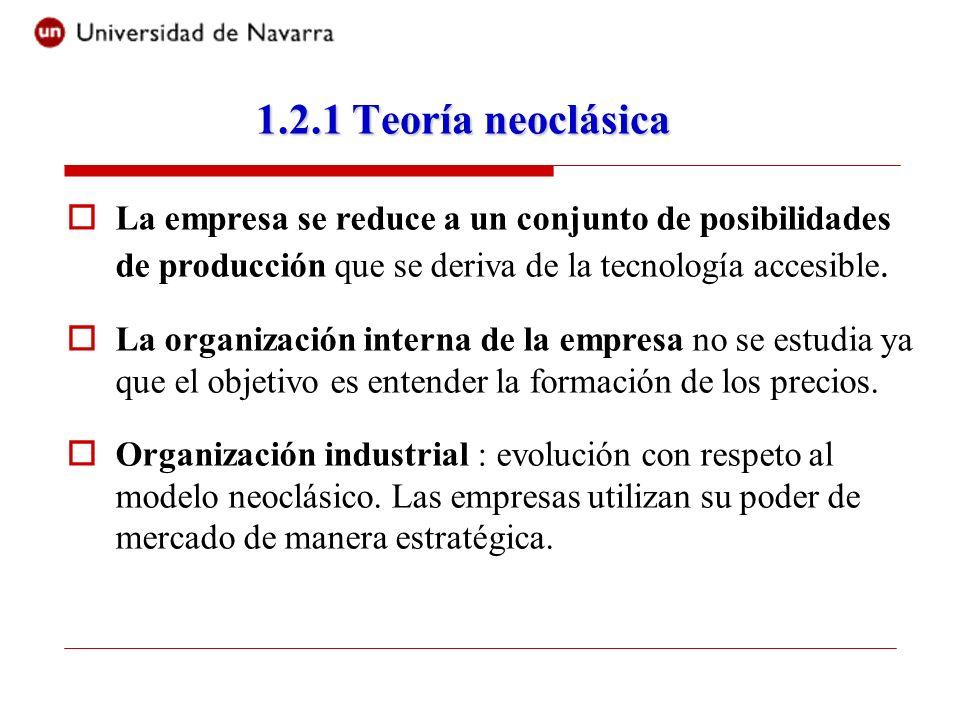 1.2.1 Teoría neoclásicaLa empresa se reduce a un conjunto de posibilidades de producción que se deriva de la tecnología accesible.
