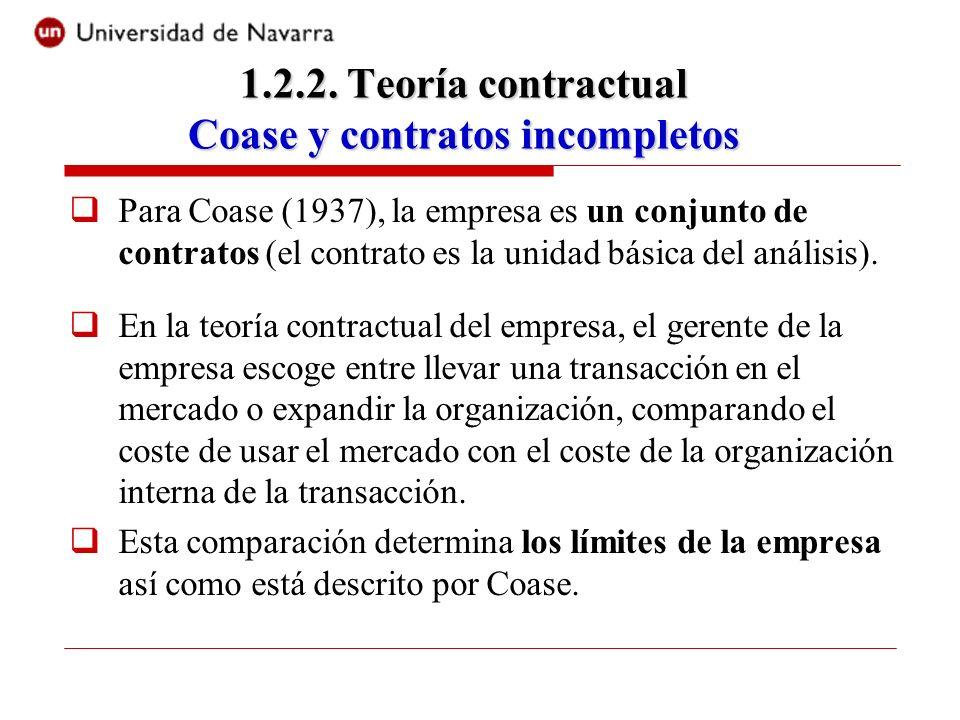 1.2.2. Teoría contractual Coase y contratos incompletos
