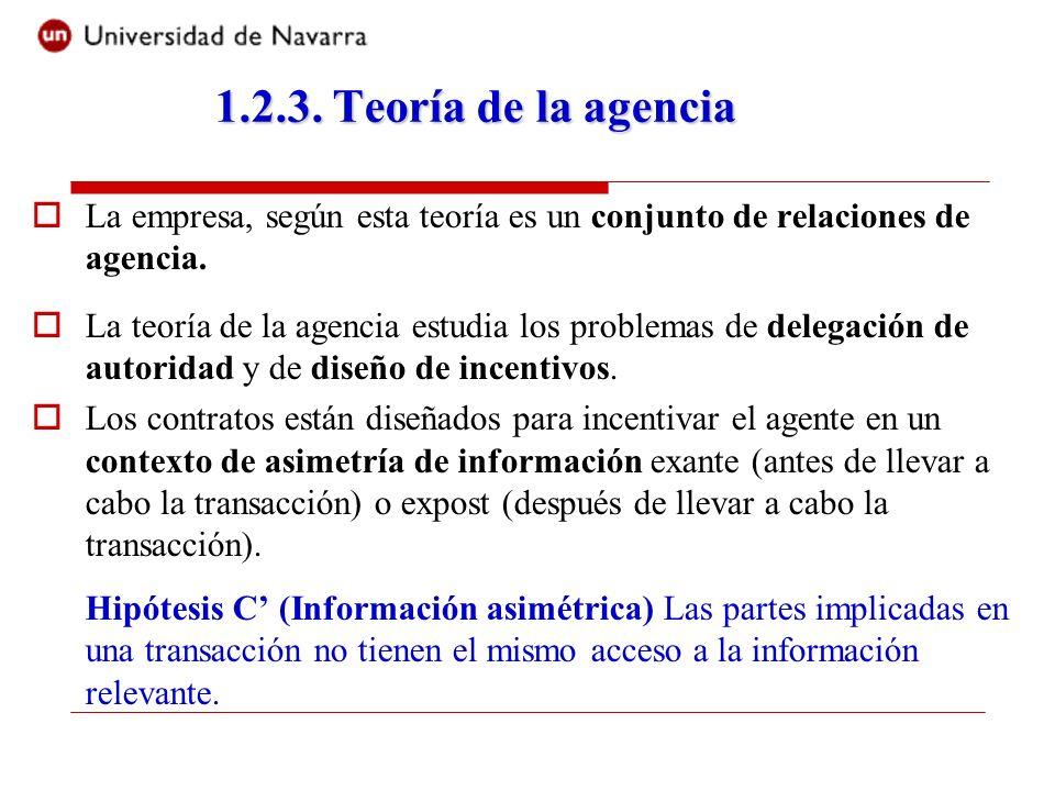 1.2.3. Teoría de la agenciaLa empresa, según esta teoría es un conjunto de relaciones de agencia.