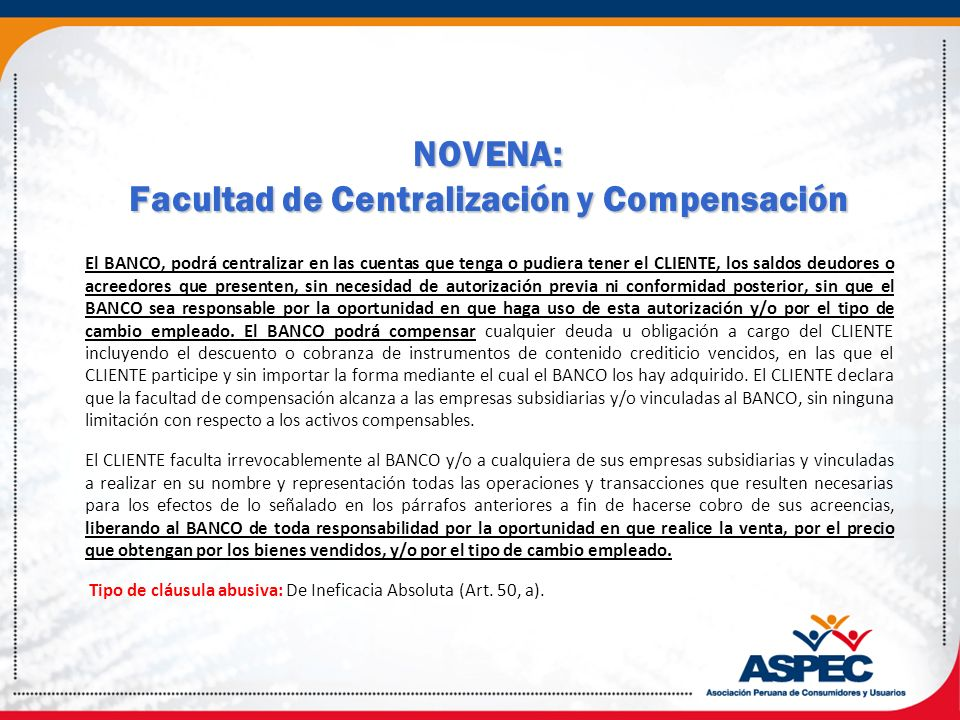 NOVENA: Facultad de Centralización y Compensación