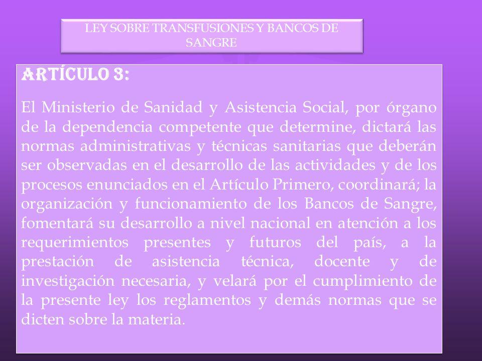 LEY SOBRE TRANSFUSIONES Y BANCOS DE SANGRE