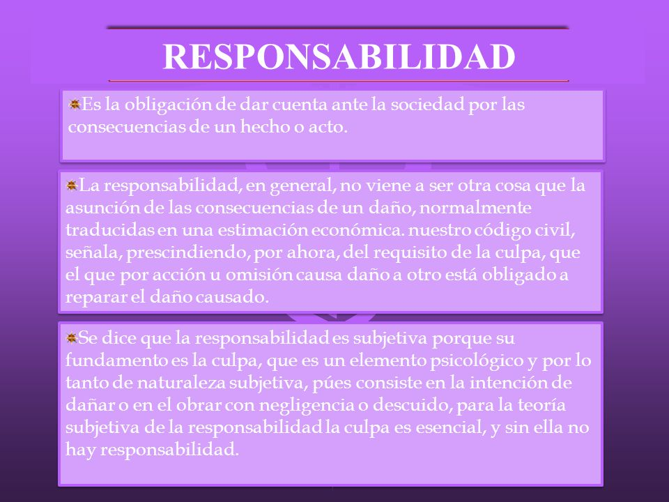 RESPONSABILIDAD Es la obligación de dar cuenta ante la sociedad por las consecuencias de un hecho o acto.