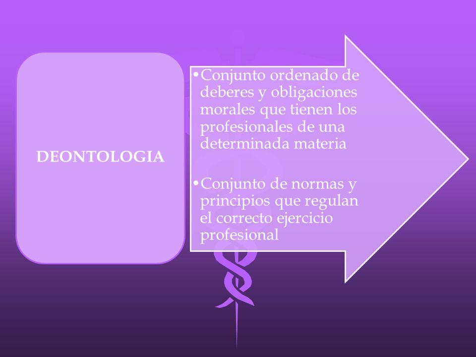 Conjunto ordenado de deberes y obligaciones morales que tienen los profesionales de una determinada materia