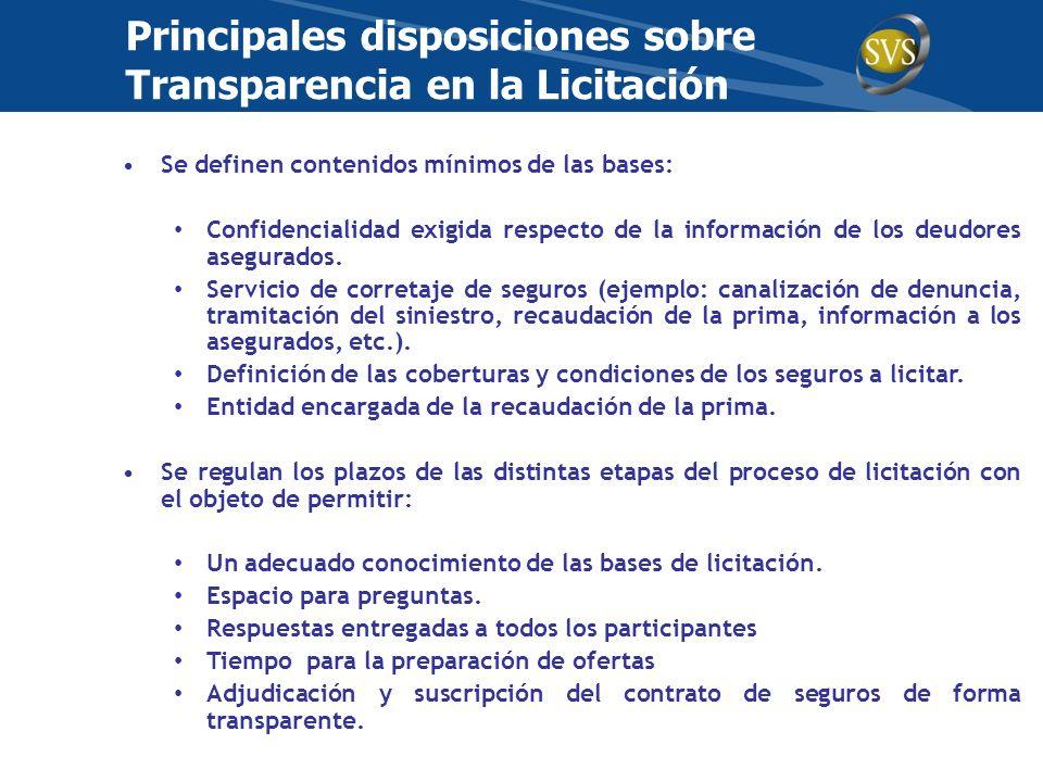 Principales disposiciones sobre Transparencia en la Licitación