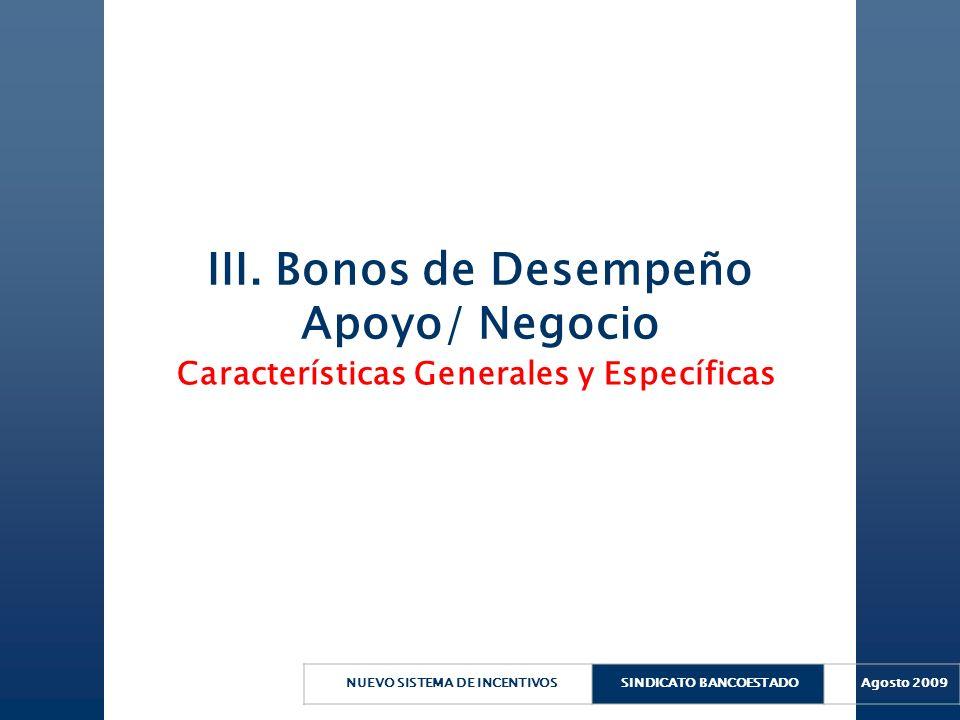 III. Bonos de Desempeño Apoyo/ Negocio