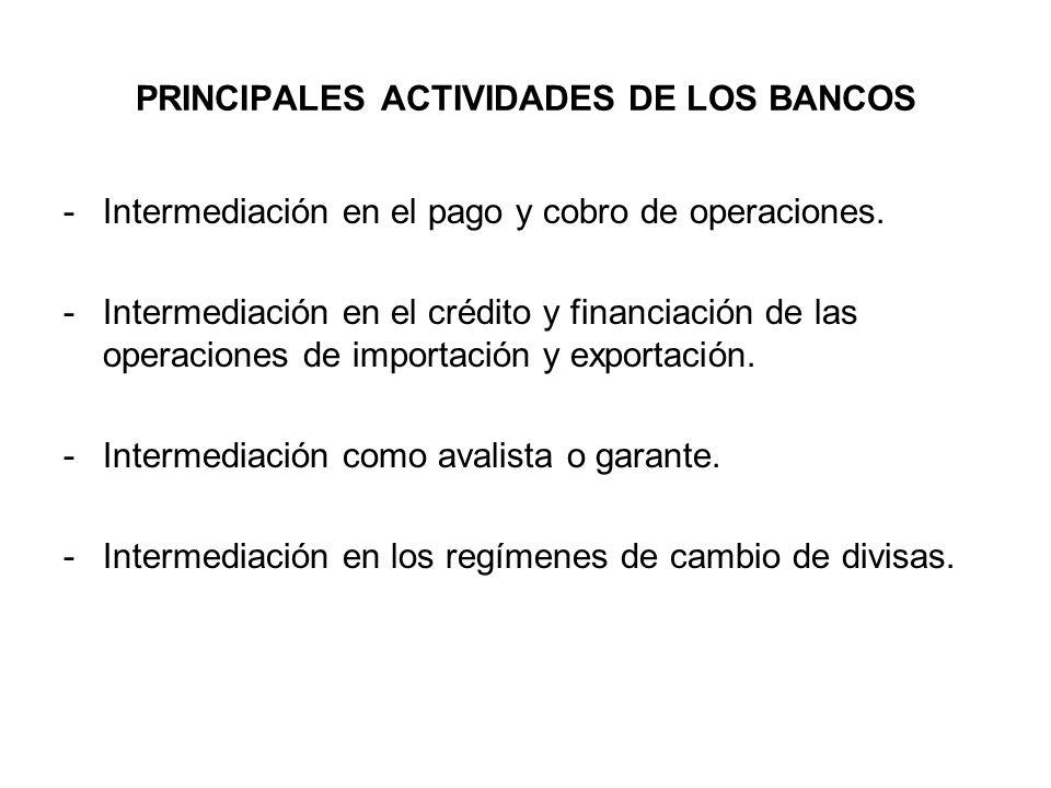 PRINCIPALES ACTIVIDADES DE LOS BANCOS
