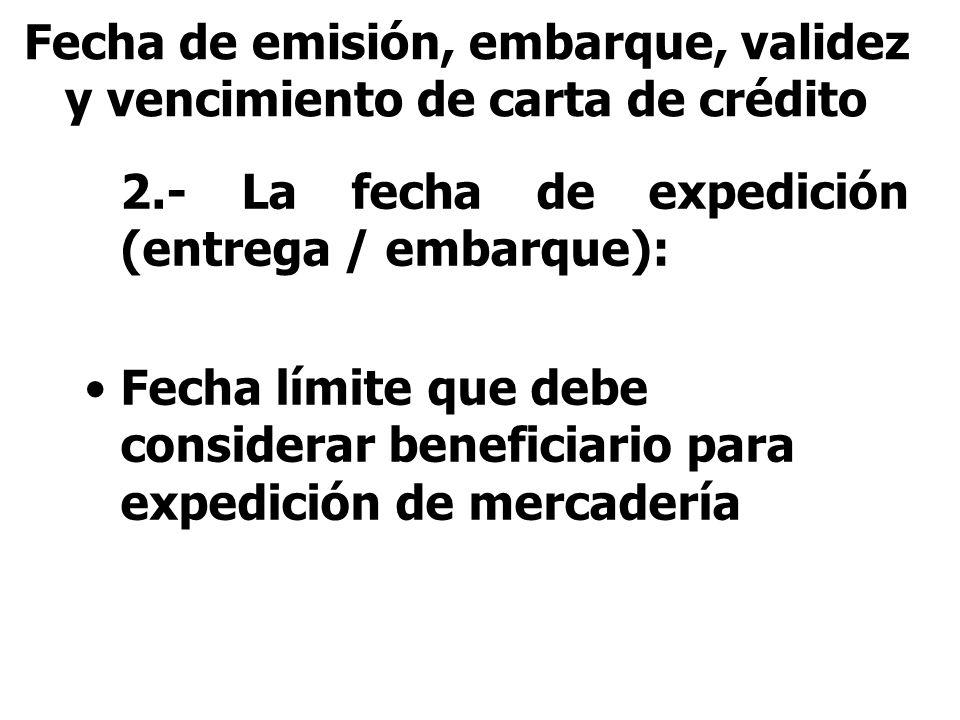 Fecha de emisión, embarque, validez y vencimiento de carta de crédito