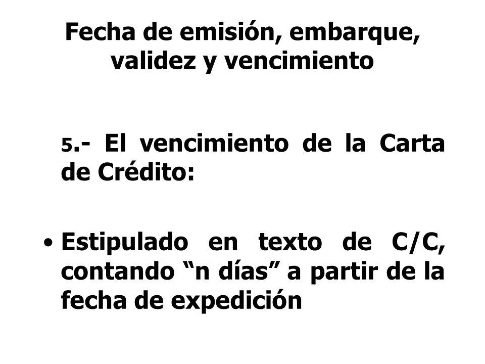 Fecha de emisión, embarque, validez y vencimiento