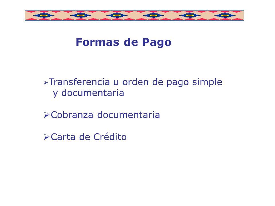 Formas de Pago y documentaria Cobranza documentaria Carta de Crédito