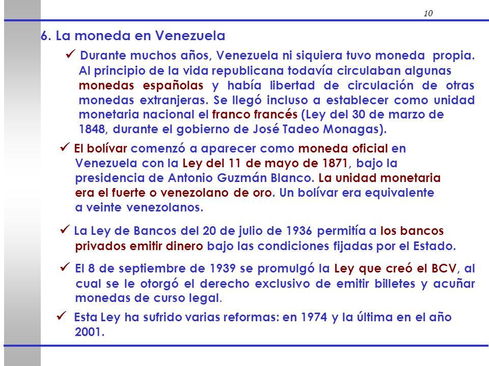 10 6. La moneda en Venezuela.