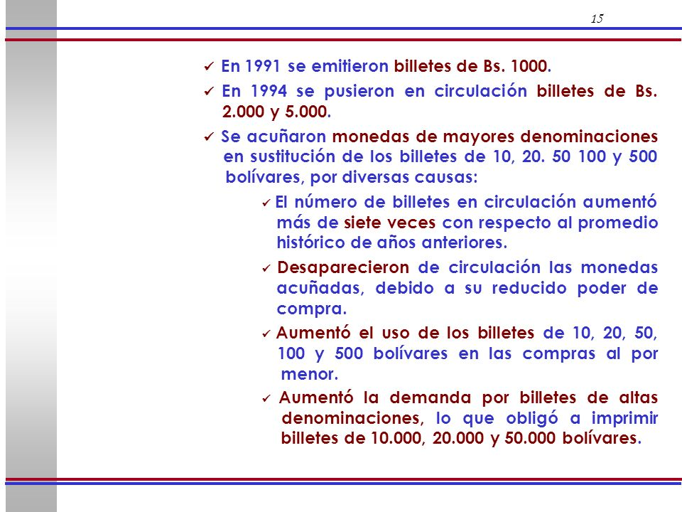  En 1991 se emitieron billetes de Bs. 1000.