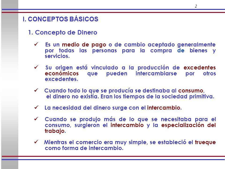 I. CONCEPTOS BÁSICOS 1. Concepto de Dinero