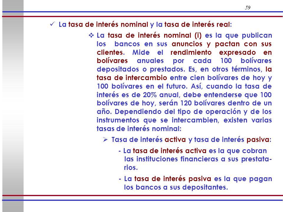 La tasa de interés nominal y la tasa de interés real: