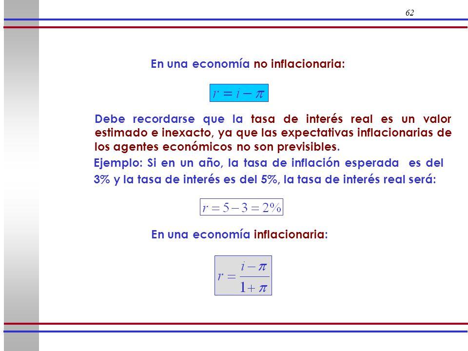 En una economía no inflacionaria: