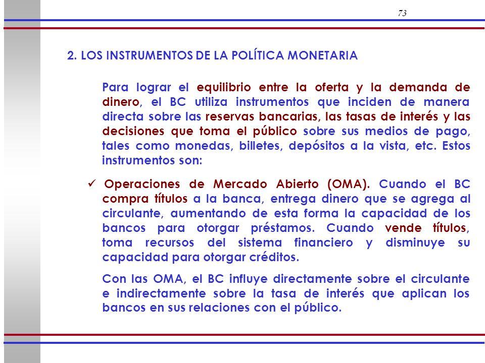 73 2. LOS INSTRUMENTOS DE LA POLÍTICA MONETARIA.