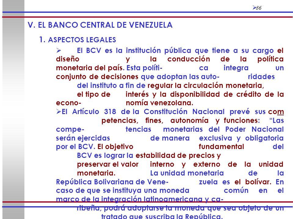 V. EL BANCO CENTRAL DE VENEZUELA 1. ASPECTOS LEGALES