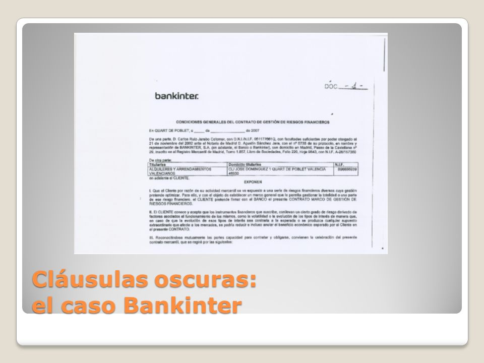 Cláusulas oscuras: el caso Bankinter