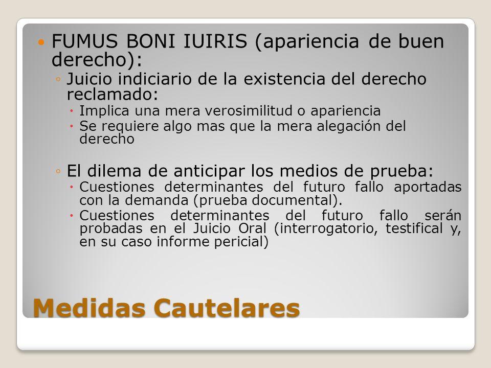 Medidas Cautelares FUMUS BONI IUIRIS (apariencia de buen derecho):