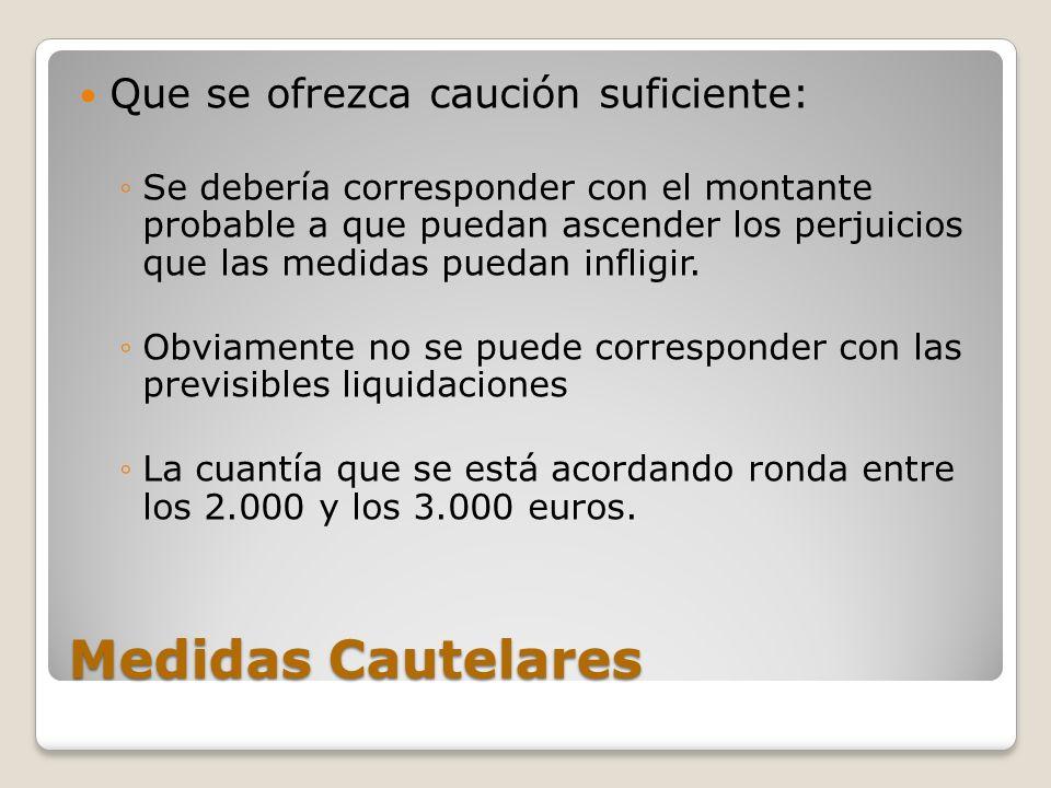 Medidas Cautelares Que se ofrezca caución suficiente: