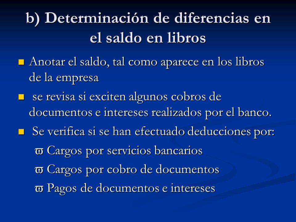 b) Determinación de diferencias en el saldo en libros