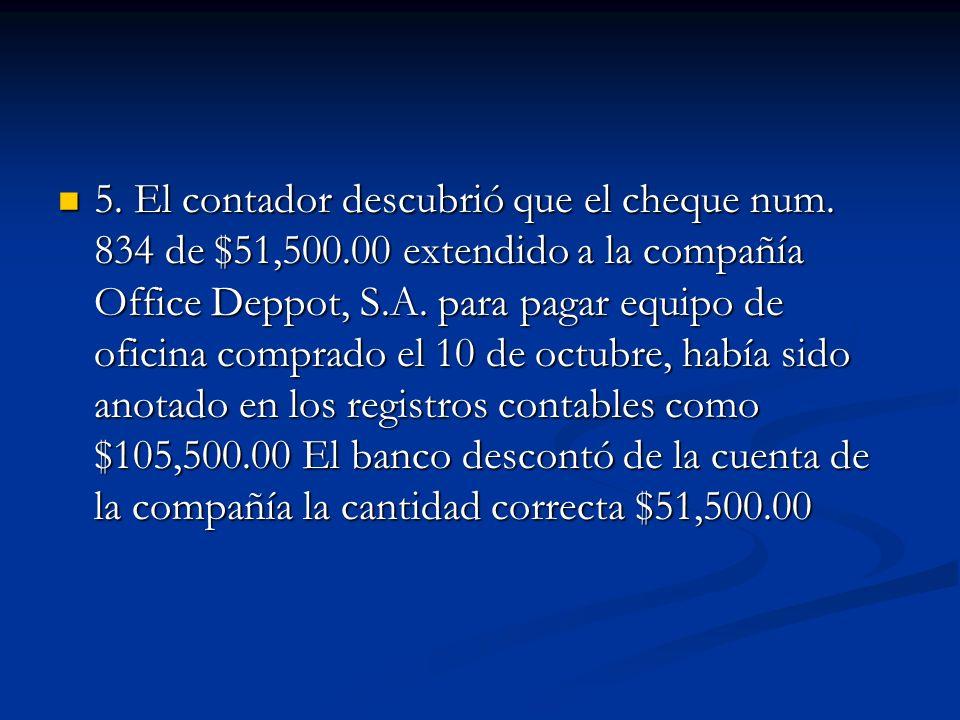 5. El contador descubrió que el cheque num. 834 de $51,500
