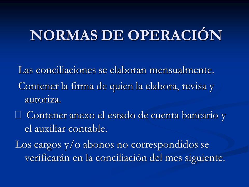 NORMAS DE OPERACIÓN Las conciliaciones se elaboran mensualmente