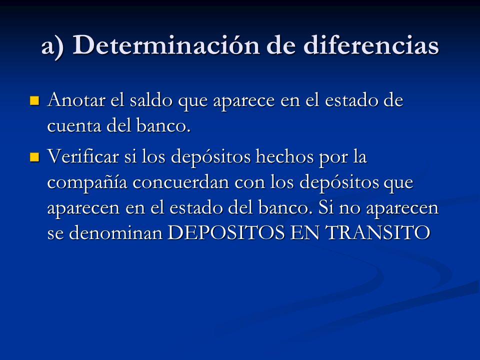 a) Determinación de diferencias