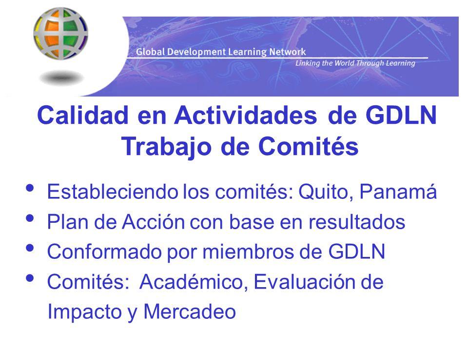 Calidad en Actividades de GDLN
