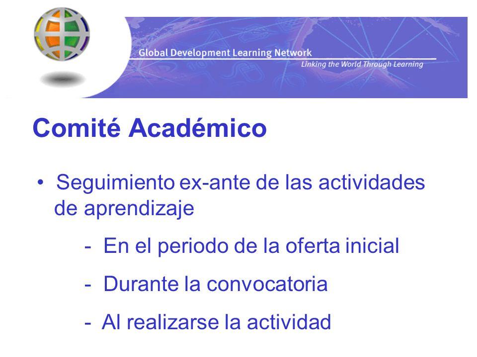Comité Académico Seguimiento ex-ante de las actividades de aprendizaje