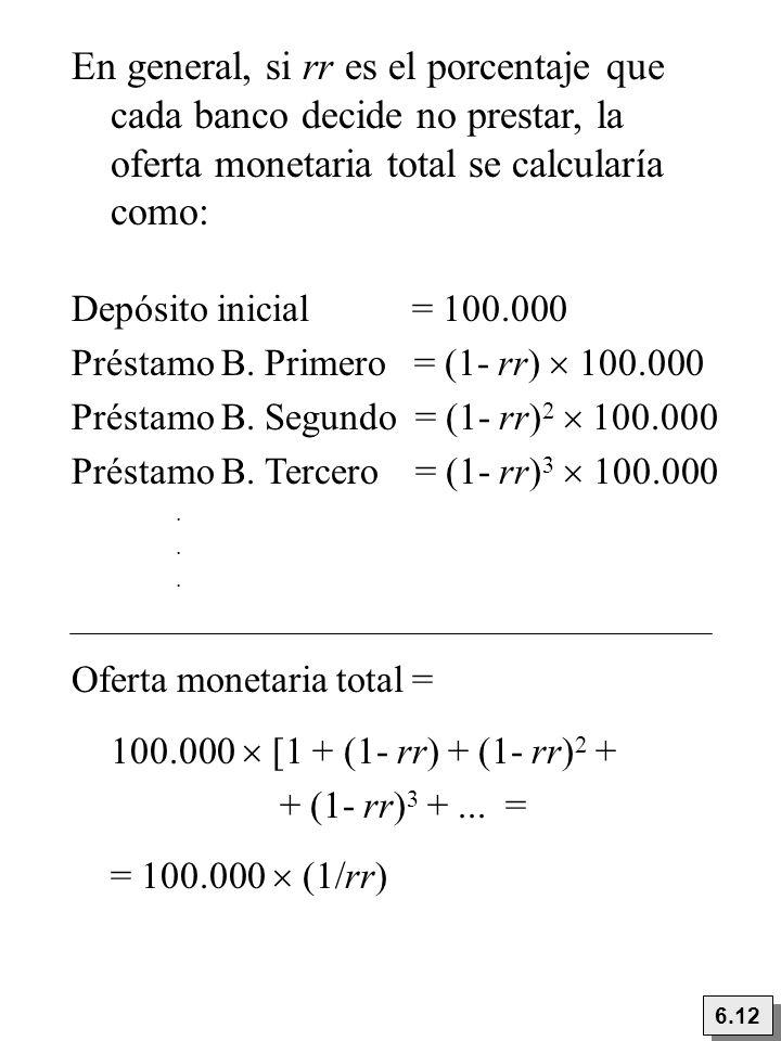 En general, si rr es el porcentaje que cada banco decide no prestar, la oferta monetaria total se calcularía como: