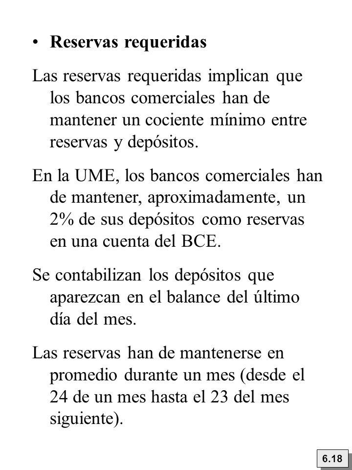 Reservas requeridas Las reservas requeridas implican que los bancos comerciales han de mantener un cociente mínimo entre reservas y depósitos.