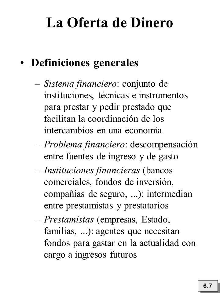 La Oferta de Dinero Definiciones generales