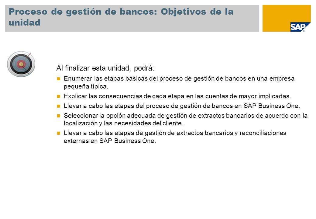 Proceso de gestión de bancos: Objetivos de la unidad