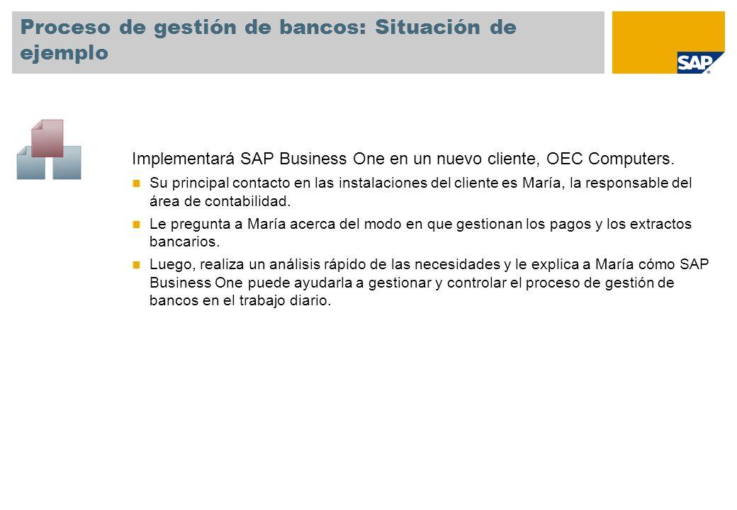 Proceso de gestión de bancos: Situación de ejemplo