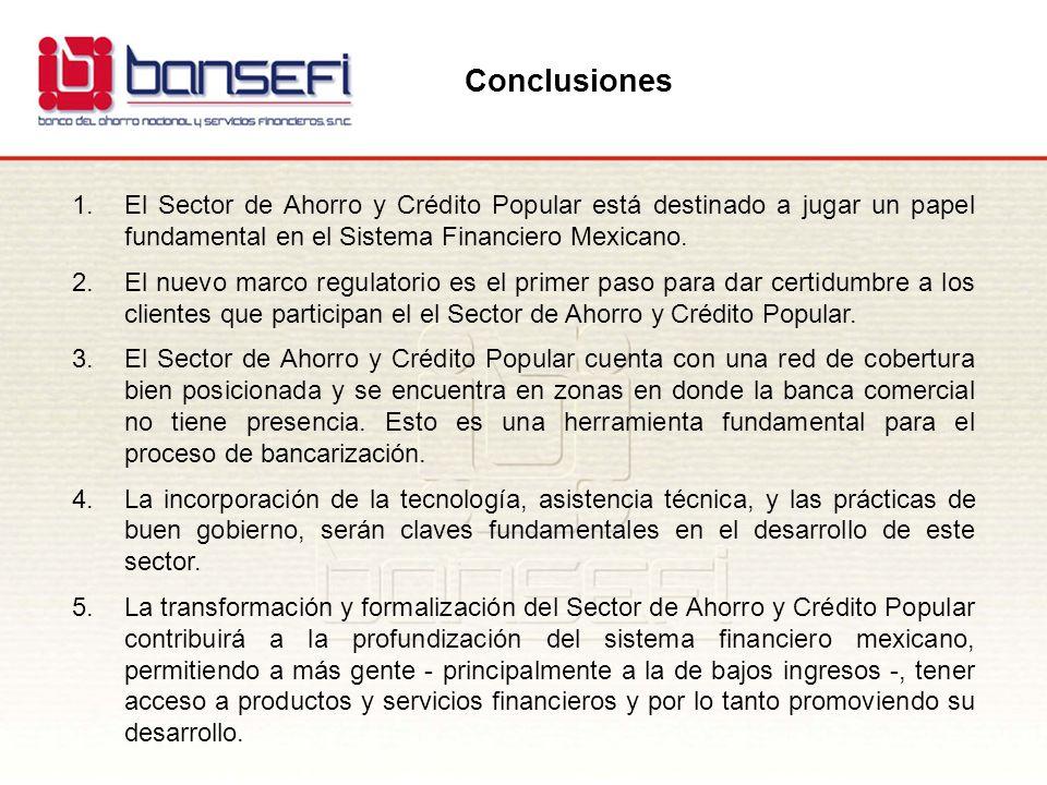 Conclusiones El Sector de Ahorro y Crédito Popular está destinado a jugar un papel fundamental en el Sistema Financiero Mexicano.