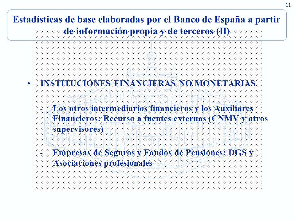 Estadísticas de base elaboradas por el Banco de España a partir de información propia y de terceros (II)
