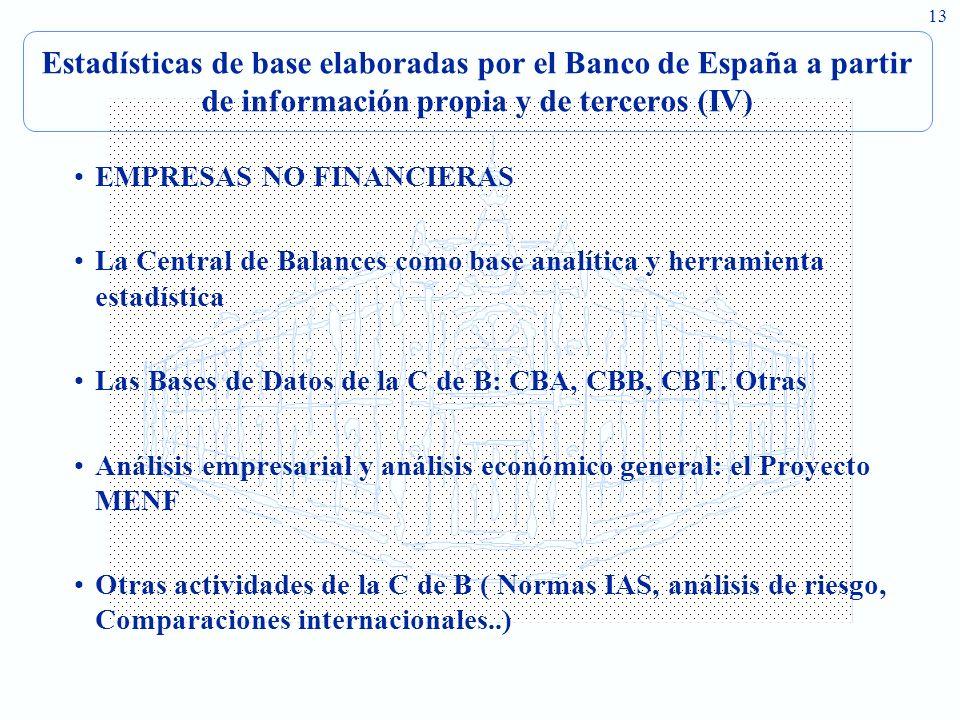 Estadísticas de base elaboradas por el Banco de España a partir de información propia y de terceros (IV)
