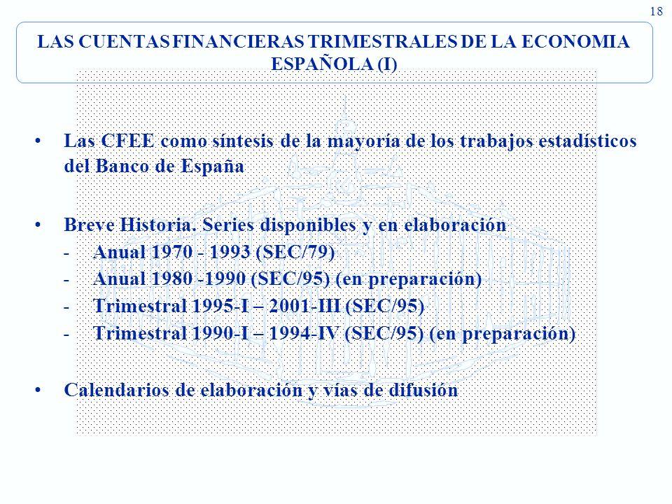 LAS CUENTAS FINANCIERAS TRIMESTRALES DE LA ECONOMIA ESPAÑOLA (I)