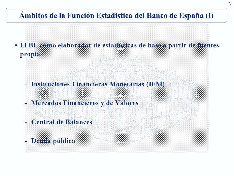 Ámbitos de la Función Estadistica del Banco de España (I)