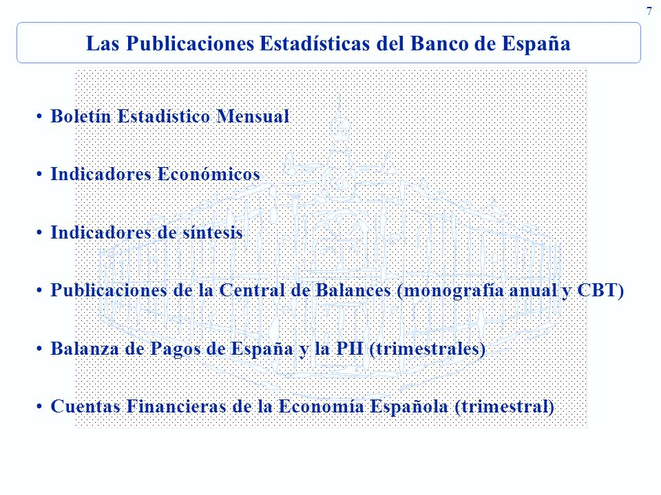 Las Publicaciones Estadísticas del Banco de España