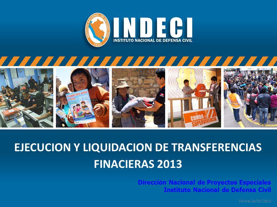 EJECUCION Y LIQUIDACION DE TRANSFERENCIAS FINACIERAS 2013
