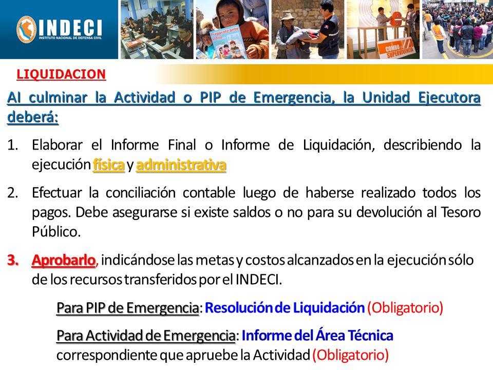 Para PIP de Emergencia: Resolución de Liquidación (Obligatorio)