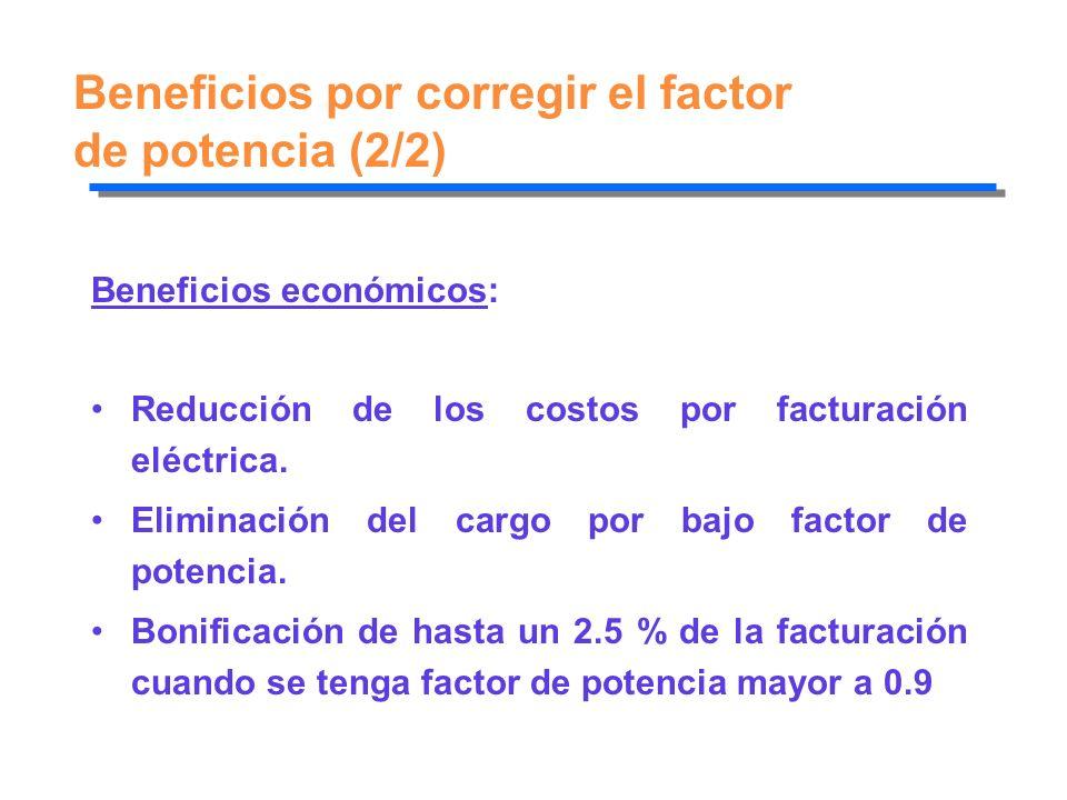Beneficios por corregir el factor de potencia (2/2)