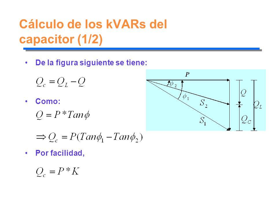 Cálculo de los kVARs del capacitor (1/2)