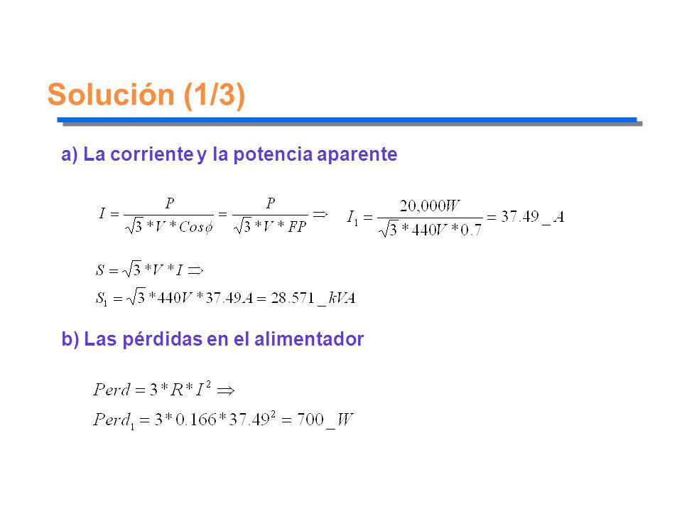 Solución (1/3) a) La corriente y la potencia aparente