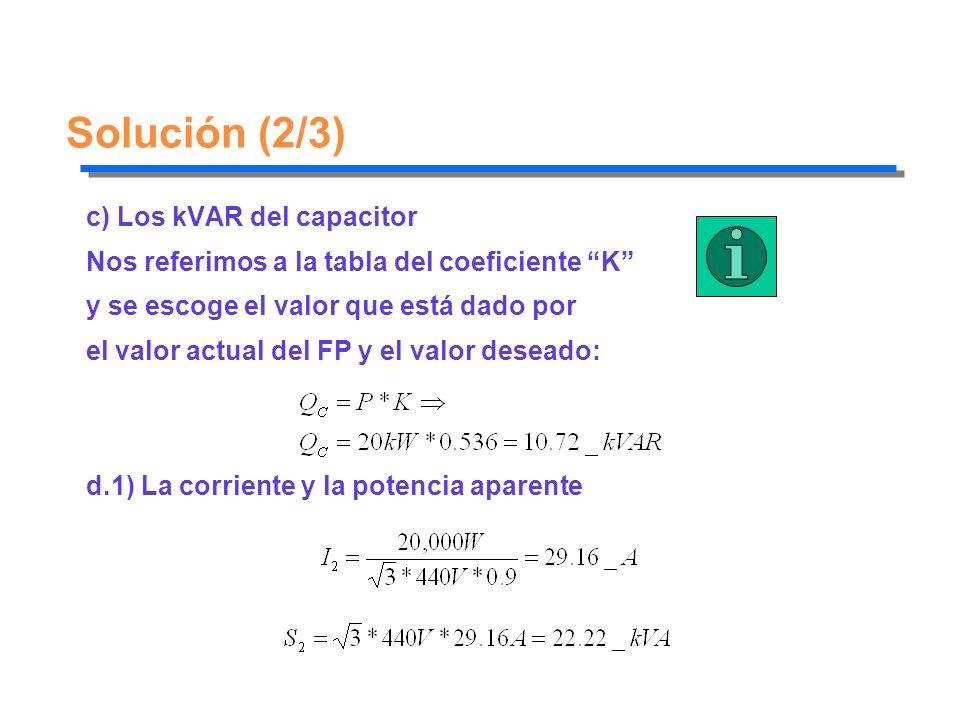 Solución (2/3) c) Los kVAR del capacitor